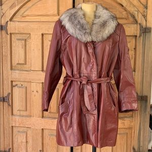 Vintage 70's leather coat with faux fur collar